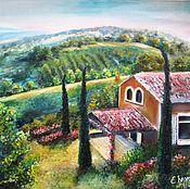 Картины и панно ручной работы. Ярмарка Мастеров - ручная работа Отпуск в Тоскане - картина маслом на холсте, Итальянский пейзаж. Handmade.