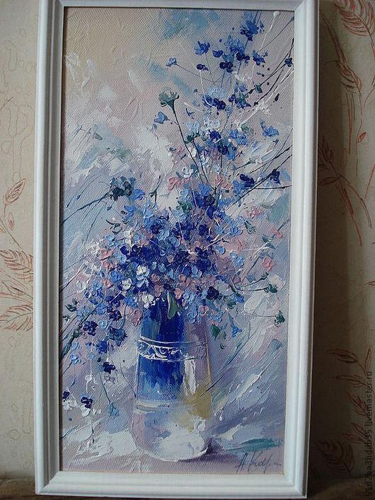 Картины цветов ручной работы. Ярмарка Мастеров - ручная работа. Купить весна. Handmade. Голубой, картина в подарок, картина для интерьера