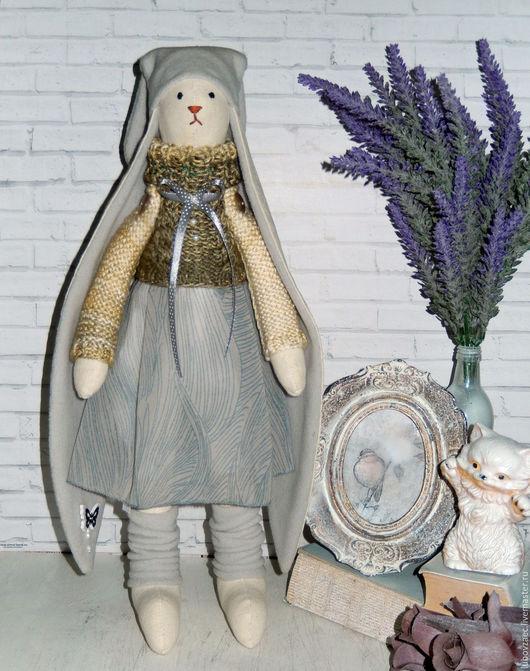 Куклы Тильды ручной работы. Ярмарка Мастеров - ручная работа. Купить Заяц Тильда серый, бежевый.. Handmade. Серый