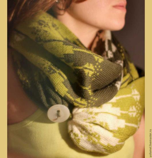 Шарфы и шарфики ручной работы. Ярмарка Мастеров - ручная работа. Купить Вязаный шарф с застежкой. Handmade. Комбинированный, полушерсть, аксессуары