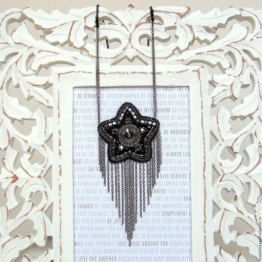 """Колье, бусы ручной работы. Ярмарка Мастеров - ручная работа. Купить Кулон со звездой """"Андромеда"""". Handmade. Темно-серый"""