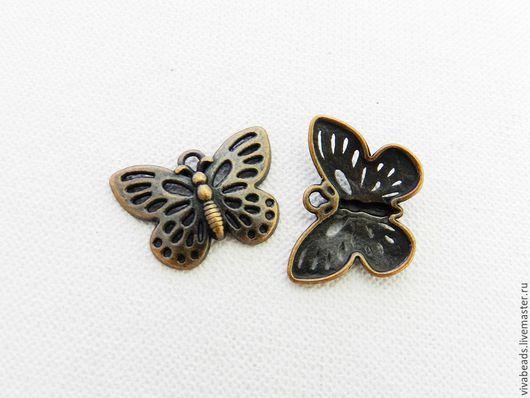 Подвеска Бабочка, размер 17*25 мм, цвет Медь (арт. 1534) Сплав не содержит свинца и никеля.