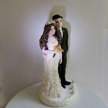 """Свадебный салон ручной работы. Ярмарка Мастеров - ручная работа Фигурки на свадебный торт """" Свадьба цвета шампань"""" свадебный торт. Handmade."""