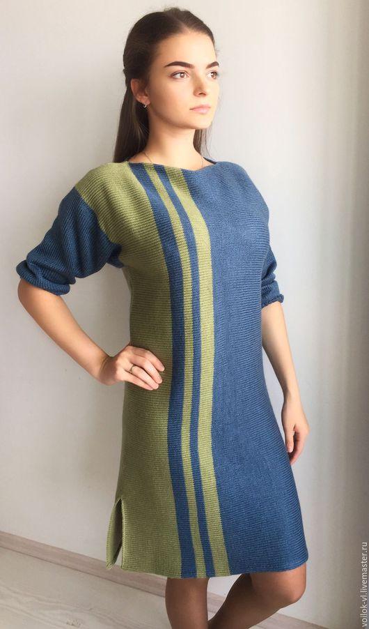 Платья ручной работы. Ярмарка Мастеров - ручная работа. Купить -10%Платье Море. Handmade. Тёмно-синий, платье вязаное женское