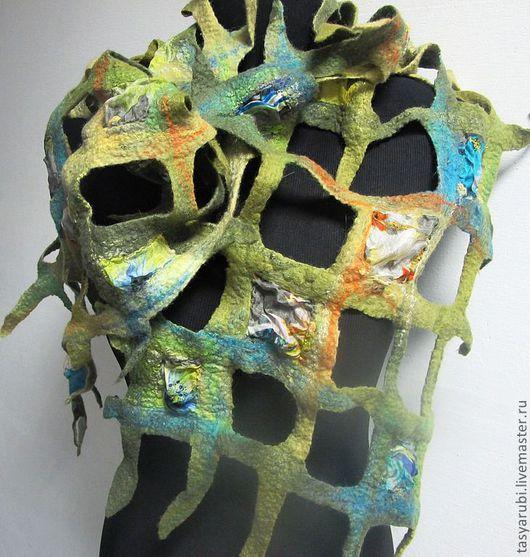 """Шарфы и шарфики ручной работы. Ярмарка Мастеров - ручная работа. Купить Валяный шарф  в технике""""Тиффани"""". Handmade. Тиффани, шарф, сетка"""