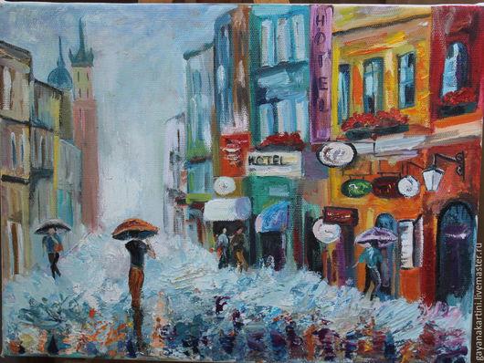 """Город ручной работы. Ярмарка Мастеров - ручная работа. Купить Картина """"Город"""". Handmade. Разноцветный, город, живопись маслом, дождь"""