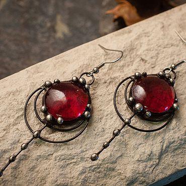 Decorations handmade. Livemaster - original item Amber Drop earrings (red). Handmade.