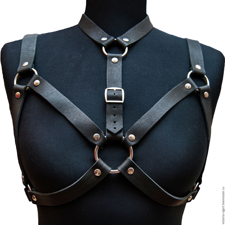 Womens leather garter, garter belt, leather harness, body ...