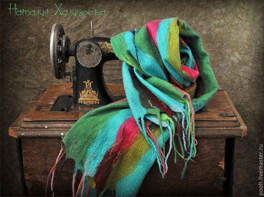 """Шарфы и шарфики ручной работы. Ярмарка Мастеров - ручная работа. Купить Валяный шарф """"Бирюза"""". Handmade. В полоску, шарф"""