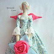 Куклы и игрушки ручной работы. Ярмарка Мастеров - ручная работа Тильда Ангел  с розой. Handmade.
