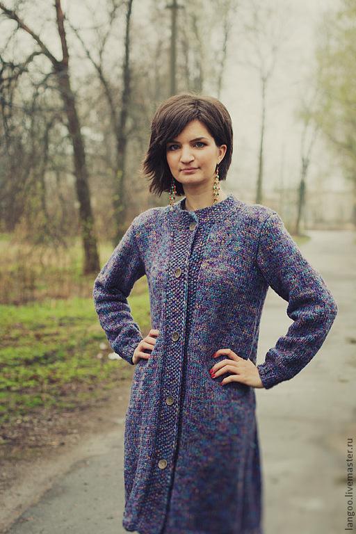 Верхняя одежда ручной работы. Ярмарка Мастеров - ручная работа. Купить Вязаное пальто. Handmade. Тёмно-фиолетовый, кардиган вязаный
