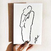 Открытки ручной работы. Ярмарка Мастеров - ручная работа Влюбленные картина графика монохром гризайль открытка. Handmade.