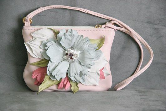 Baby's Accessories handmade. Livemaster - handmade. Buy Children's handbag genuine leather art. S54R44.Pink, floral arrangement