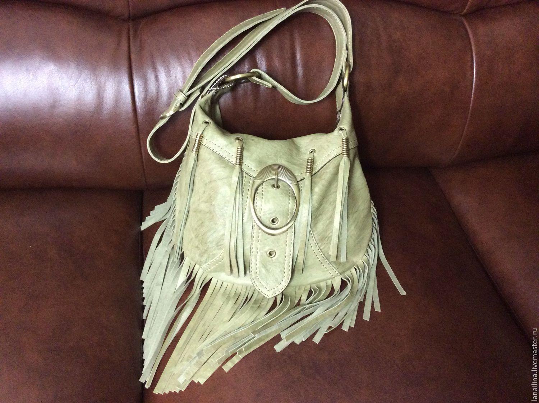 Сумка кожаная `Кора Олива` (сумка из кожи, сумка ручной работы)