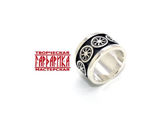 Славянское кольцо - оберег с Коловратами из серебра