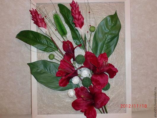 Картины цветов ручной работы. Ярмарка Мастеров - ручная работа. Купить Пано из цветов и сухоцветов. Handmade. Флористический коллаж, картины