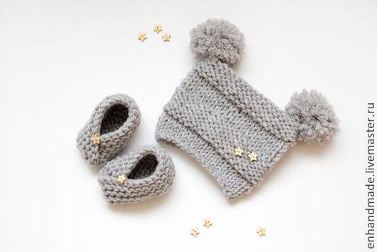 Для новорожденных, ручной работы. Ярмарка Мастеров - ручная работа. Купить Комплект для малыша #1 пинетки и шапочка. Handmade. Серебряный