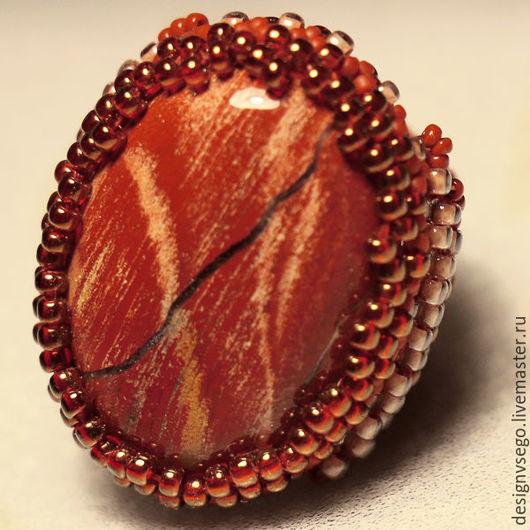Кольца ручной работы. Ярмарка Мастеров - ручная работа. Купить Кольцо с красной яшмой. Handmade. Кольцо с камнем
