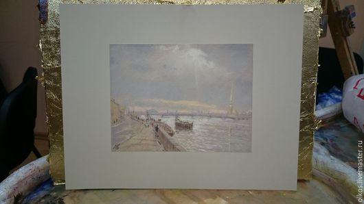 Пейзаж ручной работы. Ярмарка Мастеров - ручная работа. Купить Картина пастелью с видом набережной Невы. Handmade. Разноцветный