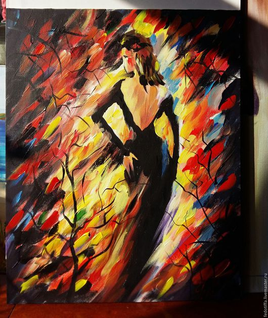 """Люди, ручной работы. Ярмарка Мастеров - ручная работа. Купить Картина.Осень.""""Девушка в черном"""". Handmade. Холст, акрил, девушка"""