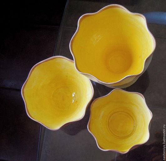 Конфетницы, сахарницы ручной работы. Ярмарка Мастеров - ручная работа. Купить Набор солнечных вазочек. Handmade. Керамика ручной работы