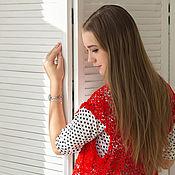 """Одежда ручной работы. Ярмарка Мастеров - ручная работа Кардиган вязаный  """"Lady in red"""". Handmade."""