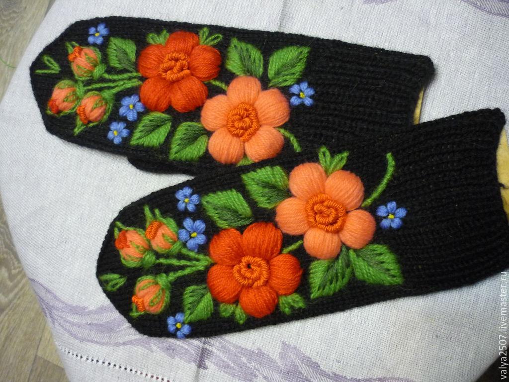 Вышивка на варежках своими руками мастер класс 97