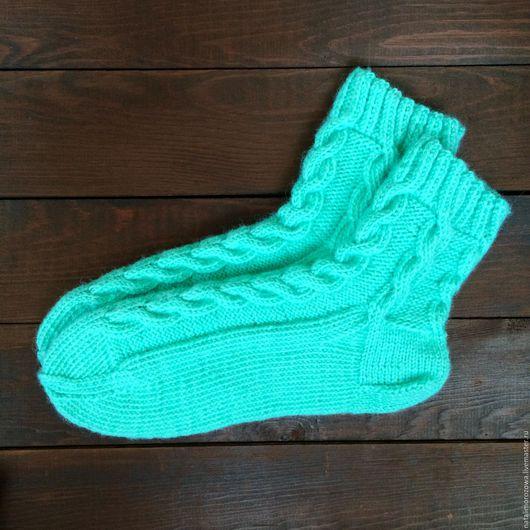Носки, Чулки ручной работы. Ярмарка Мастеров - ручная работа. Купить Носки вязанные. Handmade. Мятный, ажурный узор