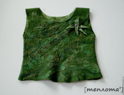 Одежда для девочек, ручной работы. Ярмарка Мастеров - ручная работа. Купить Жилет валяный для девочки. Handmade. Тёмно-зелёный, маечка