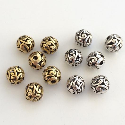 Для украшений ручной работы. Ярмарка Мастеров - ручная работа. Купить Бусины металлические 8 мм орнамент. Handmade.