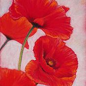 Картины и панно handmade. Livemaster - original item Pastel painting Red poppies. Handmade.