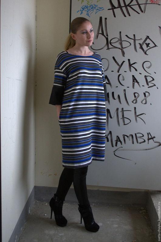 Платья ручной работы. Ярмарка Мастеров - ручная работа. Купить Платье - туника трикотажное в полоску. Handmade. Комбинированный, минималистичное украшение