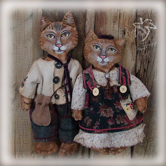 Куклы и игрушки ручной работы. Ярмарка Мастеров - ручная работа. Купить Кот и Кошка. Handmade. Авторская игрушка, оригинальный подарок