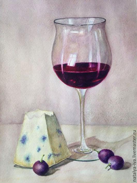 Картина Акварель `Бокал вина`. Ярмарка Мастеров - ручная работа. Купить картина акварелью. Handmade. Картина акварель. Рисунок акварель.