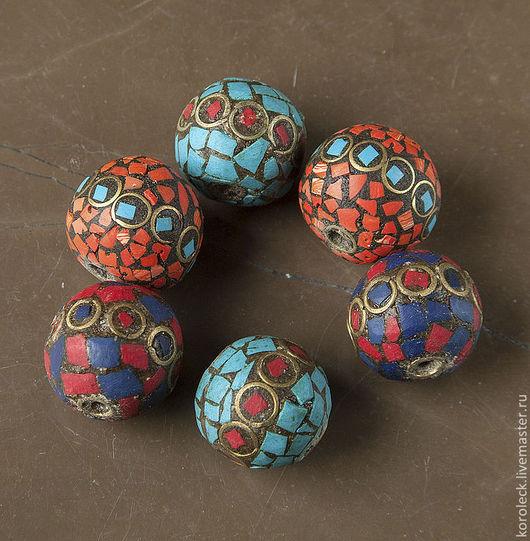 Для украшений ручной работы. Ярмарка Мастеров - ручная работа. Купить Крупные индийские бусины, украшенные камнями. Handmade. Бусины