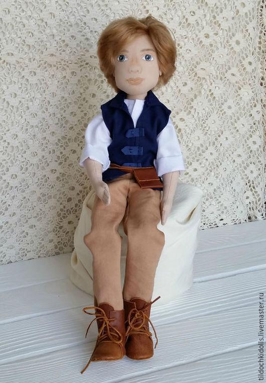 Коллекционные куклы ручной работы. Ярмарка Мастеров - ручная работа. Купить Текстильная кукла-мальчик. Handmade. Тёмно-синий