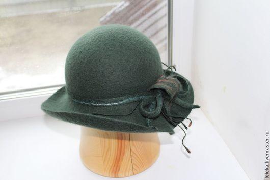 """Шляпы ручной работы. Ярмарка Мастеров - ручная работа. Купить дамская шляпка""""элегантс"""". Handmade. Тёмно-зелёный, шерсть меринос"""