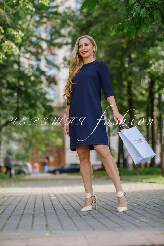 """Платья ручной работы. Ярмарка Мастеров - ручная работа. Купить Платье """"Бусинка"""" с рукавами 3/4. Handmade. Платье, Синее платье"""