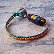 """Украшения ручной работы. Ярмарка Мастеров - ручная работа Браслет """"Игрушки.Orange"""", тропический орех, лэмпворк, кожаный шнур.. Handmade."""