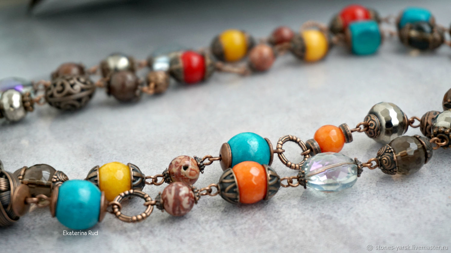 Summer necklace-multicolored stone beads ' Cheerful', Necklace, Moscow,  Фото №1