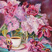 """Картины и панно ручной работы. Ярмарка Мастеров - ручная работа Картина """"Натюрморт с тюльпанами"""". Handmade."""