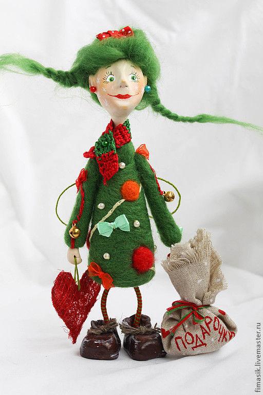 Человечки ручной работы. Ярмарка Мастеров - ручная работа. Купить Елочка. Handmade. Зеленый, зеленый цвет, оригинальный подарок