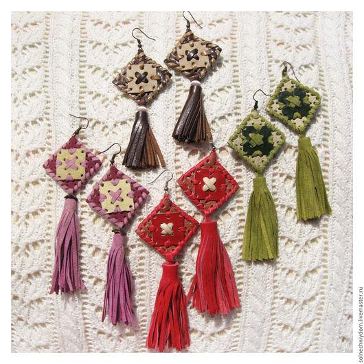 Серьги ручной работы. Ярмарка Мастеров - ручная работа. Купить Серьги бохо-стиль, ромбики, женское украшение из кожи. Handmade.