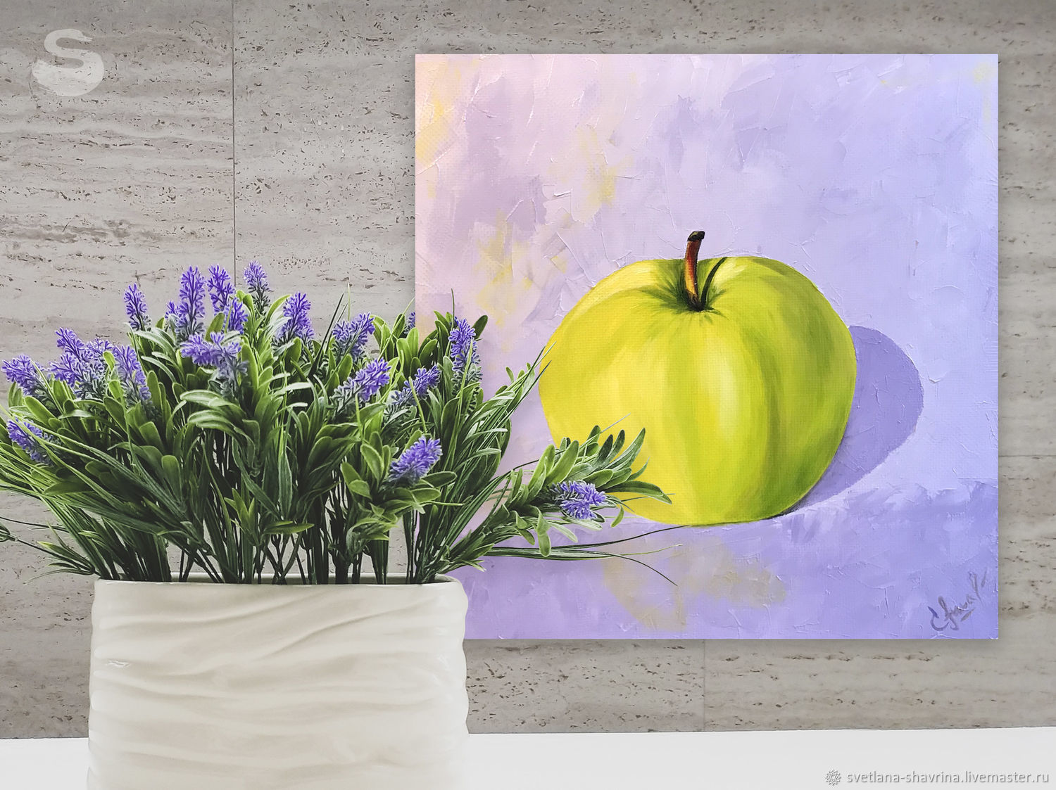 Oil painting: GREEN APPLE, m/x, 40h40, pop art, original, Pictures, Moscow,  Фото №1