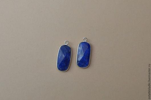 Для украшений ручной работы. Ярмарка Мастеров - ручная работа. Купить Пара для серег нефрит синий в оправе (30). Handmade.