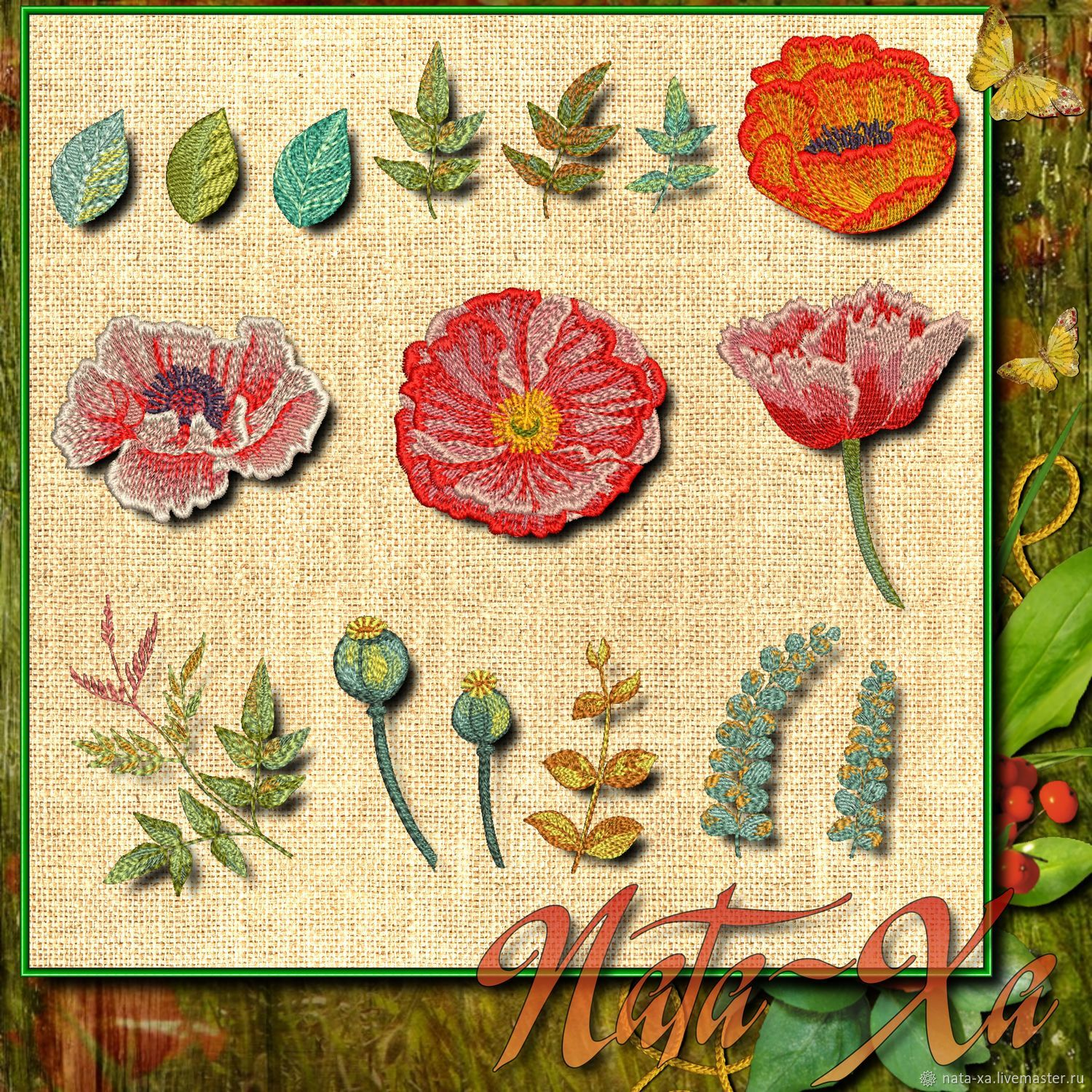 'Poppy color'. Set for hoops 10h10cm, Embroidery tools, Solikamsk,  Фото №1