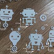 Материалы для творчества handmade. Livemaster - original item !Cutting for scrapbooking SET OF FUNNY ROBOTS. Handmade.