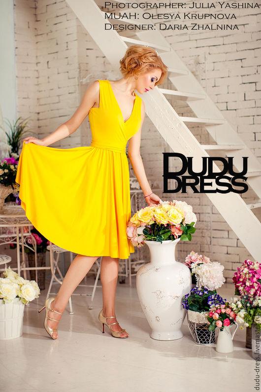 Платья ручной работы. Ярмарка Мастеров - ручная работа. Купить Короткое платье с юбкой-солнце жёлтое. Handmade. Желтый, микромасло