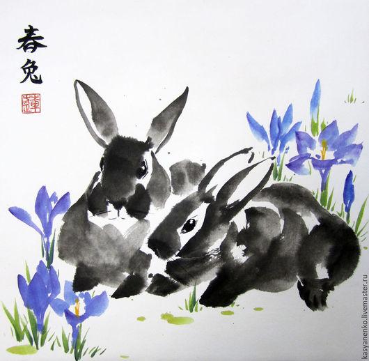 Животные ручной работы. Ярмарка Мастеров - ручная работа. Купить Кролики и крокусы. Handmade. Разноцветный, кролики, се-и, картина в подарок