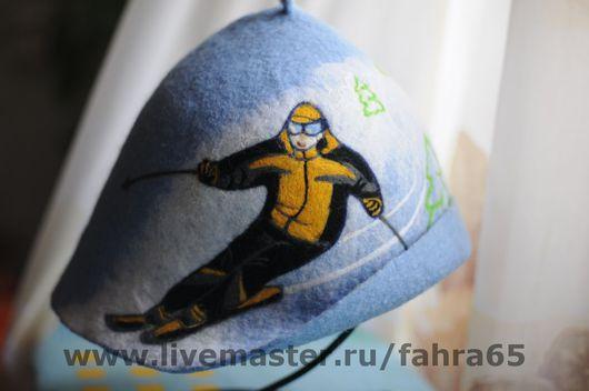 """Банные принадлежности ручной работы. Ярмарка Мастеров - ручная работа. Купить """"Горнолыжник"""". Handmade. Голубой, банная шапка, подарок"""